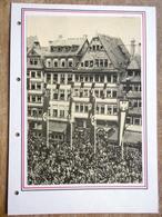 DR Selbstgestaltes Sammlerblatt Mit Bild Häuserfasade, Hakenkreuzfahnen, Menschenmenge - Deutschland