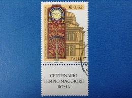 2004 ITALIA FRANCOBOLLO USATO STAMP USED - TEMPIO MAGGIORE ROMA 0,62 - CON APPENDICE - 6. 1946-.. Repubblica