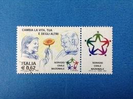 2003 ITALIA FRANCOBOLLO USATO STAMP USED - SERVIZIO CIVILE NAZIONALE CON APPENDICE - - 6. 1946-.. Repubblica