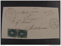 """4485 ITALIA Regno-1889- """"Effigie O Stemma Umberto I"""" C. 5 Coppia ACQUASPARTA>MONTEROMANO (descrizione) - Marcophilia"""