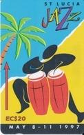 TARJETA DE SANTA LUCIA DE JAZZ DEL AÑO 1997 EC$20  ( 147CSLE) - Sainte Lucie