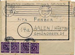 HAMBURG - 1947 , Brief Nach Aalen / Württemberg - Umschlag 2x Benutzt - Zone Belge