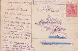 Haut Rhin, CP De Didenheim (T162 Didenheim Oberels**) Pour Bâles Sur 10pf Le 27/9/17 + Cachet Zurück Ansichts... - Alsace-Lorraine