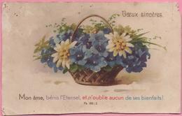 """CPA """"Vœux Sincères"""" Fleurs Dans Panier, 26-05-1933 Pour Allenjoie (25) - Blumen"""
