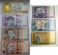 Armenia Arménie Armenien 2018 Complete Set Banknote - 500 1000 2000 5000 10000 20000 50000 Dram UNC Hybrid Technology - Arménie