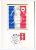 RC 10815 FRANCE CARTE MAXIMUM 1989 2f30 MARIANNE DE BRIAT FDC SUR SOIE TB - Cartes-Maximum