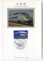 RC 10824 FRANCE CARTE MAXIMUM 1989 TRAIN TGV ATLANTIQUE FDC SUR SOIE TB - Trains