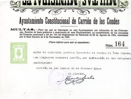 2 Papeles De Ayuntamiento Carrion De Los Condes  Multas - España