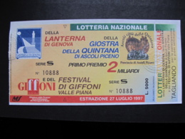BIGLIETTO LOTTERIA GENOVA QUINTANA GIFFONI 1997 - COMPLETO DI TAGLIANDO FDS - Biglietti Della Lotteria