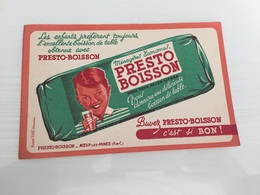 Buvard Ancien PRESTO BOISSON NOEUX-LES-MINES - Limonadas - Refrescos
