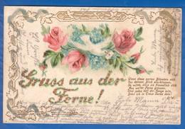 Blumen; Fleurs; Art Nouveau; Prägekarte; Gaufrée; 1904 Stempel Neubabelsberg - Flores