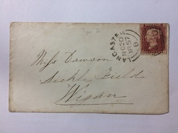 GB 1857 Victoria Cover - Lancaster Duplex To Wigan Lovely Clean Double Circle Strikes Tied With 1d Red Star - Lettres & Documents
