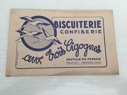 Buvard Ancien BISCUITERIE CONFISERIE AUX TROIS CIGOGNES NEUVILLE EN FERRAIN - Sucreries & Gâteaux