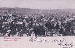 Gruss Aus Biel + Timbre Chiffre 3 Ct (25.12.1900) - BE Berne