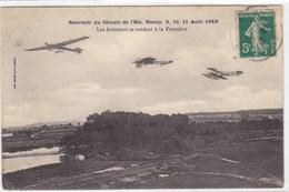 Souvenir Du Circuit De L'Est, Nancy, 9, 10, 11 Août 1910 - Les Aviateurs Se Rendant à La Frontière - Avions