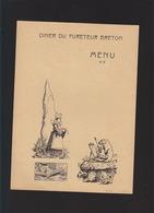 Finistere - Quimper - Menu - Diner Du Fureteur Breton - Avec Un Cochon, Menhir, Tricot - Menus