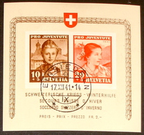 """Schweiz Suisse Pro Juventute 1941: """"Winterhilfe""""  Zu 98+99 I Mi Block 6 Yv BF 6 O EINSIEDELN 17.XII.41 (Zu CHF 500.00) - Blocks & Kleinbögen"""