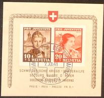 """Schweiz Suisse Pro Juventute 1941: """"Winterhilfe""""  Zu 98+99 I Mi Block 6 Yv BF 6 O ZÜRICH 7.XII.41 TdB (Zu CHF 500.00) - Usados"""