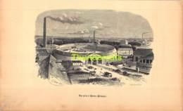 ANCIENNE COUPURE GRAVURE D'UN PUBLICATION DE 1844 OUD KNIPSEL UIT OUDE PUBLICATIE  GHEMAR LACOSTE HORNU USINE HAINAUT - Stampe & Incisioni