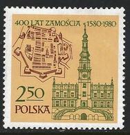 Poland 1980 Scott 2384 MNH Zamosc Town Hall, Map - 1944-.... Repubblica