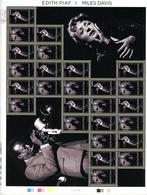 Feuille De 13 Paires N°4671-72 - Edith Piaf Et Miles Davis - Cote 60,00 Euros - Full Sheets