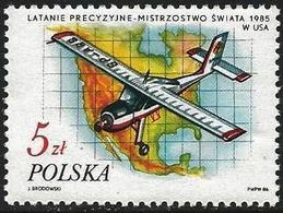 Poland 1986 Scott 2750 MNH World Championships1985, Airplain, Map - Neufs