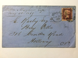 GB 1869 Victoria Cover - London Marks Tied With 1d Red Plate 112 - Briefe U. Dokumente