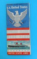 SS UNITED STATES ( United States Lines ) - TOURIST CLASS DECK PLAN ... Original Vintage RRR - Boats