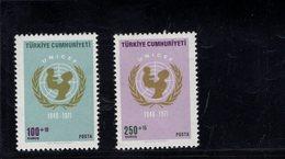 690248923 TURKEY 1971  POSTFRIS MINT NEVER HINGED POSTFRISCH EINWANDFREI SCOTT B140 B141 UNICEF 25TH ANNIV - 1921-... République