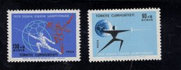 690251086 TURKEY 1970  POSTFRIS MINT NEVER HINGED POSTFRISCH EINWANDFREI SCOTT B135 B136 INTERNATIONAL FENCING CHAMPIONS - 1921-... République