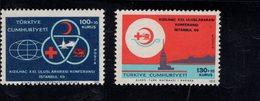 690253873 TURKEY 1969  POSTFRIS MINT NEVER HINGED POSTFRISCH EINWANDFREI SCOTT B130 B131 RED CROSS CONF ISTANBUL - 1921-... République