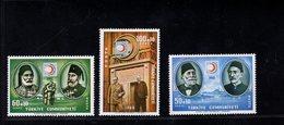 690255181 TURKEY 1968  POSTFRIS MINT NEVER HINGED POSTFRISCH EINWANDFREI SCOTT B125 B127 CENT TURKISH RED CRESCENT SOC - 1921-... République