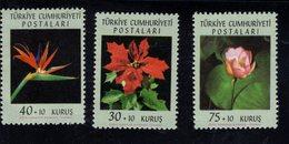 690256618 TURKEY 1962  POSTFRIS MINT NEVER HINGED POSTFRISCH EINWANDFREI SCOTT B90 B92 FLOWERS - 1921-... République
