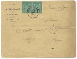 ENVELOPPE / PAIRE DE SAGE / AMBULANT RODEZ A CAPDENAC  / 1894 / HUISSIER DELCLAUX FLAGNAC - Marcofilia (sobres)