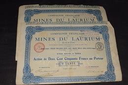 2 X 250 Frs Compagnie Française Des Mines Du Laurium Grèce 13 912 500 Frs 1924 - Mines