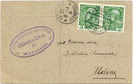 Biglietto Dalla Biblioteca Di Rovereto A Quella Di Udine- Richiesta Di Libro - Viaggiata 1913 ( 217 ) - 1850-1918 Impero