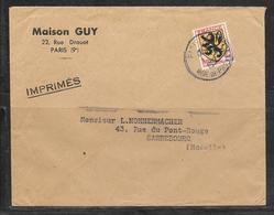 LOT 1812140 - N° 602 SUR LETTRE DE PARIS POUR SARREBOURG - IMPRIME MAISON GUY - Marcophilie (Lettres)