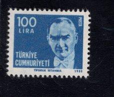 690261130 TURKEY 1980  POSTFRIS MINT NEVER HINGED POSTFRISCH EINWANDFREI SCOTT 2141 KEMAL ATATURK - 1921-... République