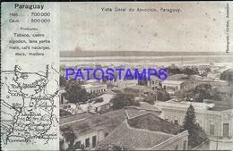 105650 PARAGUAY ASUNCION VISTA GENERAL & MAP MAPA BREAK POSTAL POSTCARD - Paraguay