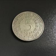 "GERMANIA - DEUTSCHLAND - 1957 - 5 MARCHI  ARGENTO  "" F "" Condiz.ottime - [ 7] 1949-… : RFA - Rep. Fed. Tedesca"