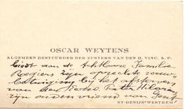 Visitekaartje - Carte Visite - Oscar Weytens - Bestuurder Zusters St Vincentius - St Denijs Westrem - Cartes De Visite