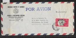 O) 1959 CIRCA-COLOMBIA, LINCOLN.-STATUE, DEMOCRACY OF AMERICA, DIVISION DE INVESTIGACIONES CIENTIFICAS- AIRMAIL TO USA - Colombia