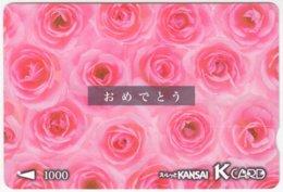 JAPAN C-161 Kansai Card - Plant, Flower, Rose - Used - Andere Sammlungen