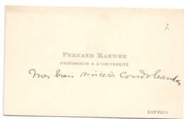 Visitekaartje - Carte Visite - Fernand Ranwez - Professeur à L'Université Louvain - Cartes De Visite