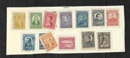O) 1917 COLOMBIA, SCT 339 TO 350, CALDAS-CAMILO TORRES-NARIÑO-SANTANDERE-SUCRE-RUFINO CUERVO-CARTAGENA-RICAURTE-COAT 10p - Colombia