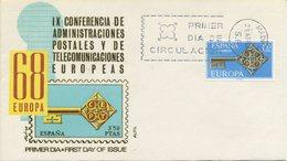 SPAGNA  - FDC ALFIL 1968 - EUROPA UNITA - CEPT -  ANNULLO SPECIALE - FDC