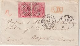 ITALIE : N° 19 . PAIRE . DE ROME POUR LA FRANCE . 1872 . TB . LST . - 1861-78 Victor Emmanuel II