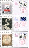 France - FDC-2009- YT 4386 à 4390- Croix Rouge  (3 Env.) - FDC