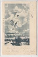 EN VELO DE LA LUNE A GENEVE - QUAI DU MONT BLANC - ILLUSTRATION - DOS UNIQUE  - 27.04.1899 - GE Genève