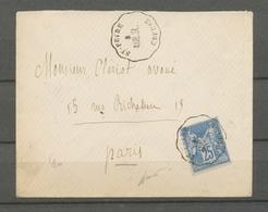 1877 Env 25c  Obl Conv Station St-Feyre/Creuse (AUB.SL) CREUSE(22) RRR X4673 - Marcophilie (Lettres)
